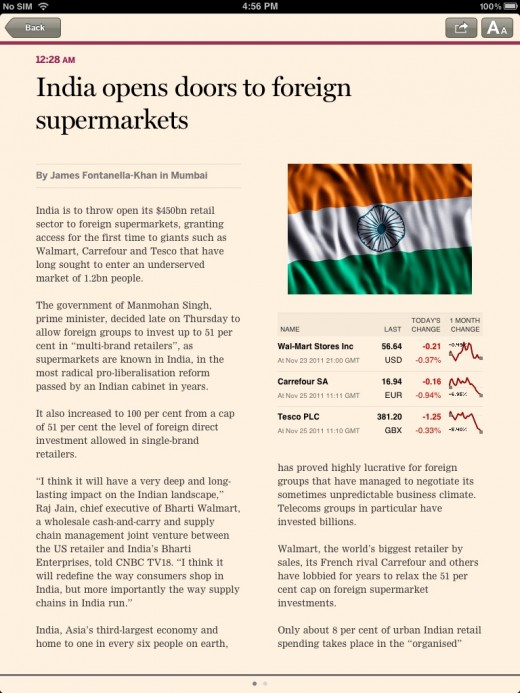 financial times india ipad web app article 520x693 The Financial Times brings its iOS only Web app to India