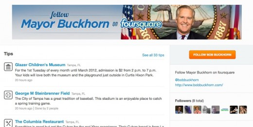 foursquare 520x261 Tampa Mayor uses foursquare to help you tour his city