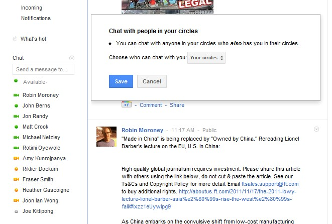 google chat control2 Now you can manage which Google+ contacts appear in Google Chat