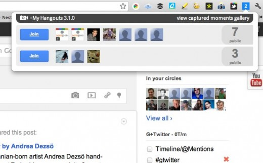 googlehangout 520x322 Want to know who is hanging out in Google+ right now? Try this Chrome extension