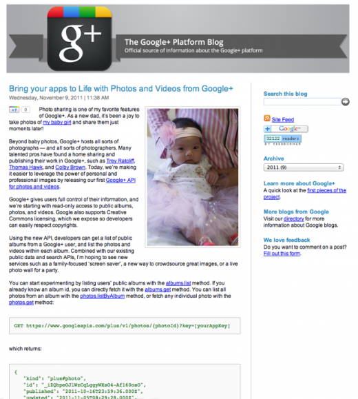 googlephotoblog 520x579 Google accidentally announces Google+ Photo and Video APIs too early