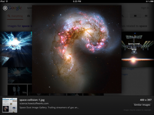 image viewer 520x390 Google launches redesigned Search app for iPad with a fresh new look