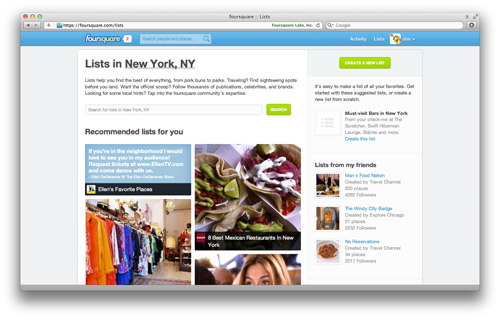 lists Foursquare Completely Revamps Its Site For Better Content Discovery