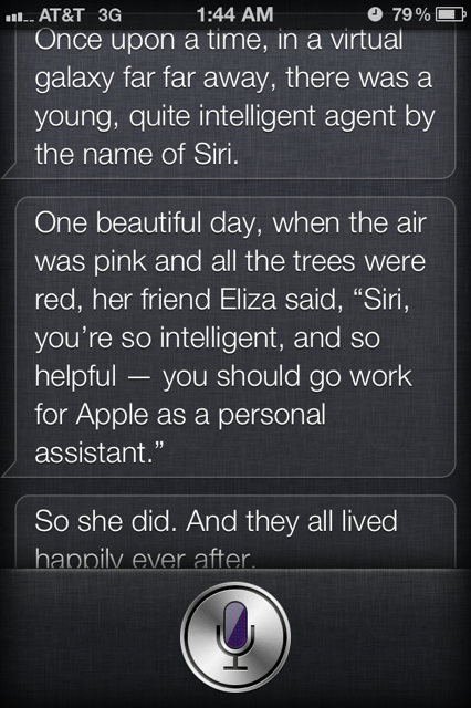 how to get siri to answer tell me a story