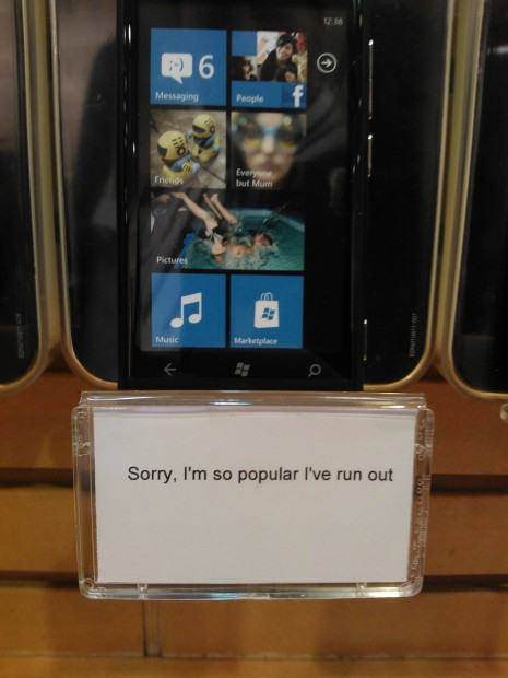 If Nokia's Lumia 800 sales are poor, its working hard to portray the opposite