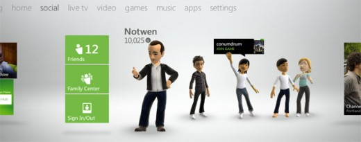 xboxnewuidashboardsocial 520x205 Microsofts Metro inspired Madrid Xbox dashboard update rolling out to testers