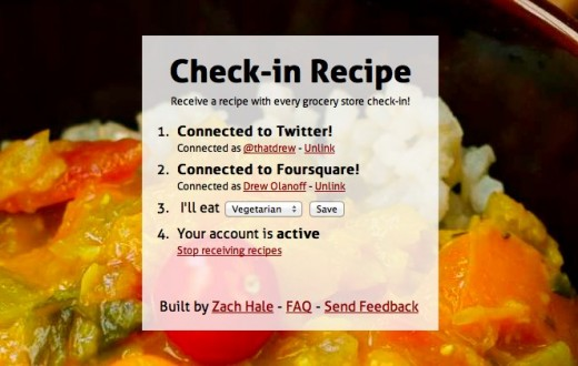 Check in Recipe Receive a recipe with every grocery store check in 520x330 Check in Recipe sends you a recipe every time you check in at a grocery store