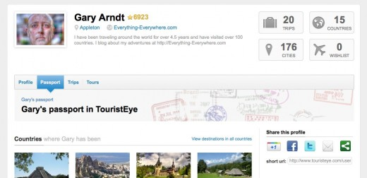 Gary s travel passport in TouristEye 520x252 With Gowalla closing at the end of January, TouristEye offers to store your data