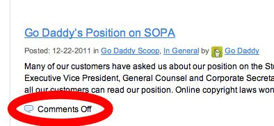 Go Daddy Scoop Go Daddy Blog Go Daddy Support 1 Go Daddy publishes position on SOPA and turns off blog commenting