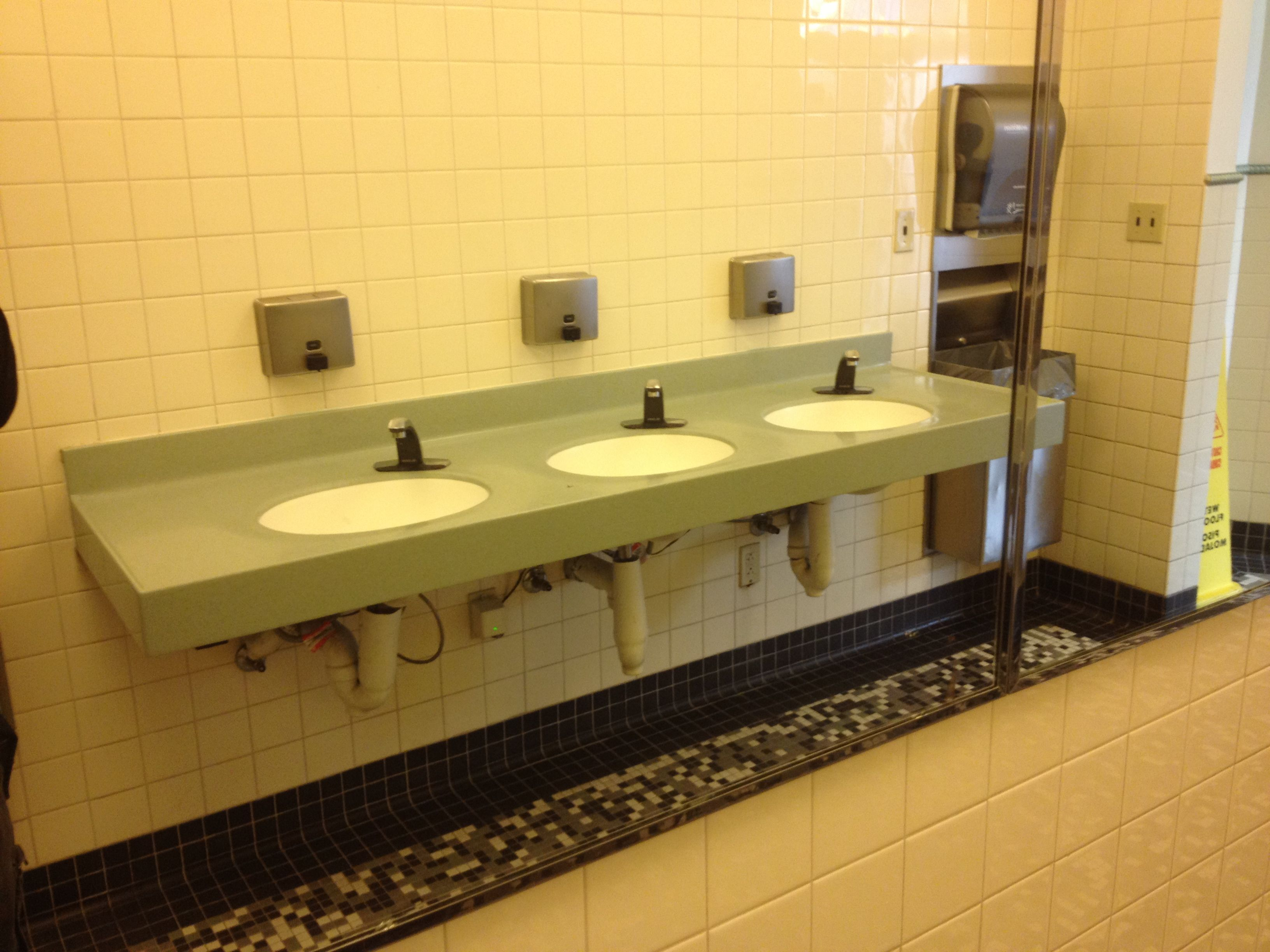 Public Bathroom Sink : By switching the mirrors to the other side, they had significantly ...
