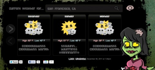 San Francisco CA Weather Zombie Where weather and zombies meet and make for party 520x237 The Weather Zombie app will alert you when it RAAAAAIIIIIINNNNSS