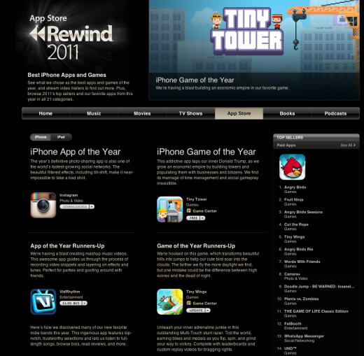 Screen Shot 2011 12 08 at 9.37.04 AM 520x509 Apples Rewind 2011 lists top apps, games, movies, music, books and podcasts of the year