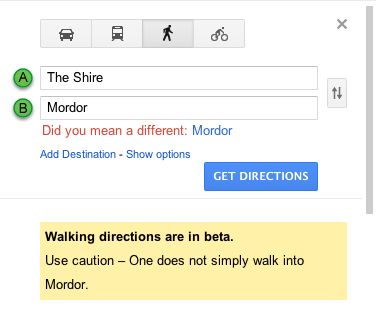 Screen Shot 2011 12 20 at 1.12.38 PM1 Google Maps verifies that one does not simply walk into Mordor