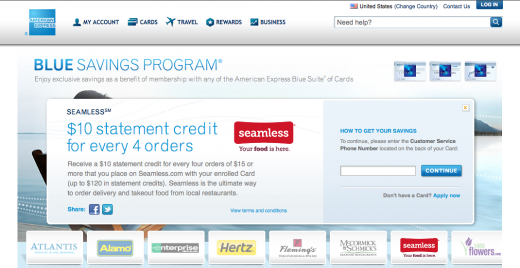 Seamless AmEx Blue SS 520x268 American Express will give you free money when you order takeout on Seamless.com