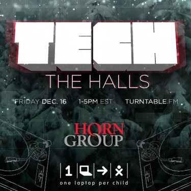 Tech the Halls logo Top Tech DJs will spin on Turntable.fm to raise money for One Laptop Per Child