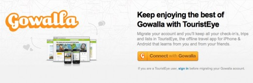 TouristEye Get inspiration plan your trip and travel 520x171 With Gowalla closing at the end of January, TouristEye offers to store your data