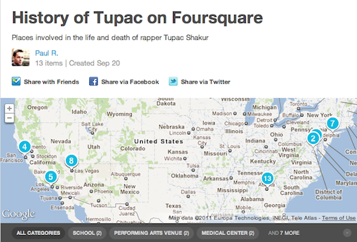 Tupac This Foursquare user is using the service to document the history of rappers