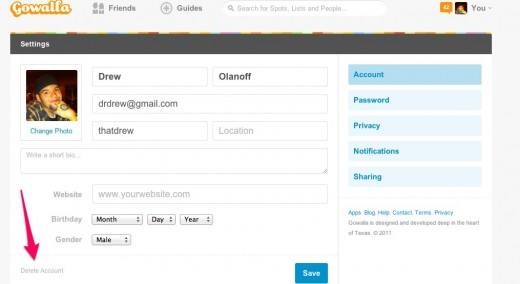 Users Gowalla 520x284 Heres how to delete your Gowalla account if you dont want Facebook to have it