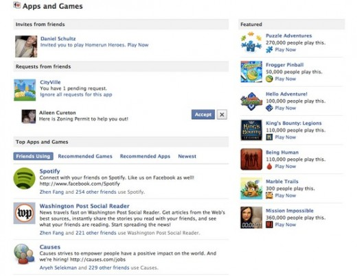 apps and games facebook dashboard 520x403 Facebook introduces changes to encourage gaming, particularly on mobile
