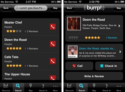 burrp iphone 21 520x384 Local recommendations website Burrp launches iPhone app for Indian users