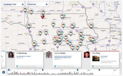 foursquare2 520x322 NBCPolitics and foursquare team up for Presidential Election Campaign Check ins