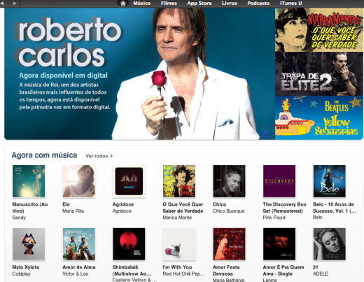 iTunes Roberto Carlos 520x403 Apple is now offering music, movies and iTunes Match in Brazil