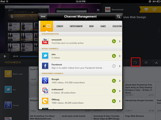 managesubs Nowbox is the slickest way to watch YouTube videos on your iPad