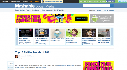 mashable 520x288 Ads: The Death of User Experience on CNN, Forbes, Mashable