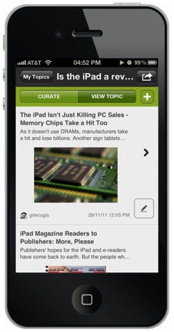 scoopit1 Scoop.it packs its blog style Web curation tools into a new iPhone app