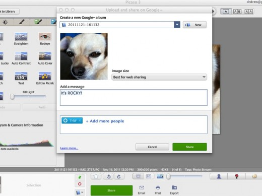 uploadshare 520x389 The new desktop version of Picasa now has Google+ sharing and tagging