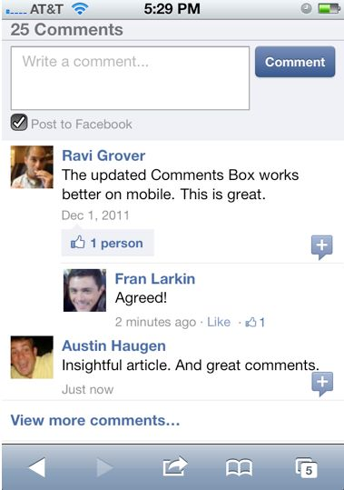 384492 307851252589634 127345500640211 838551 1222763805 n Facebook updates its Comments Box for smoother mobile commenting