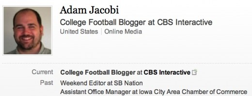 Jacobi LinkedIn 520x198 CBS fires sports blogger following Twitter based misstep on Paternos death