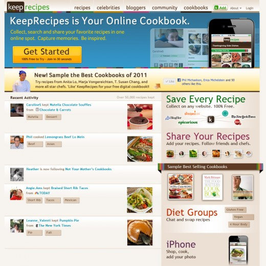 KeepRecipes Homepage Jan 27 520x519 KeepRecipes grows its online cookbook with iTunes for Recipes