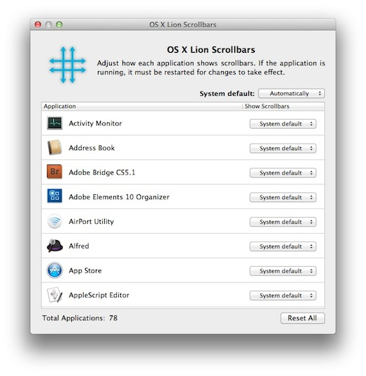 LSB This app lets you customize scrollbar behaviour in OS X Lion