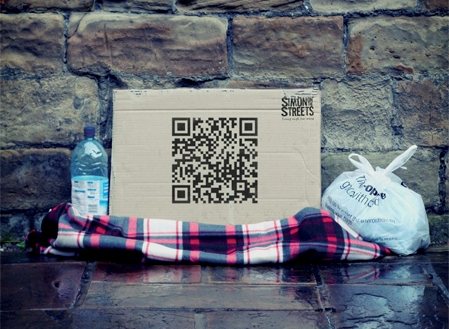 QRH1 QR codes on cardboard? Thats one way to raise money for a UK homeless charity.