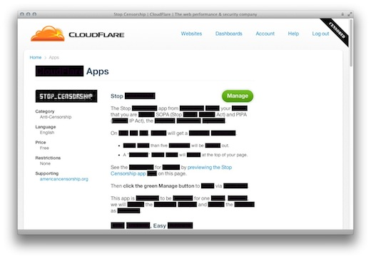 Screen Shot 2012 01 16 at 5.38.24 PM CloudFlares new app gives site owners a 1 click alternative to ineffective blackouts