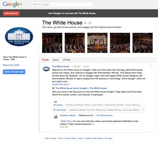 Screen Shot 2012 01 20 at 8.45.50 AM 520x498 The White House has officially joined Google+, will host Hangouts