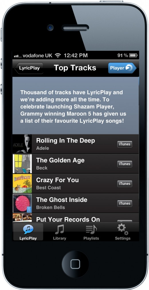 Shazam Player Top Tracks 520x1011 Shazam moves beyond tagging to launch Shazam Player, its unique new music app