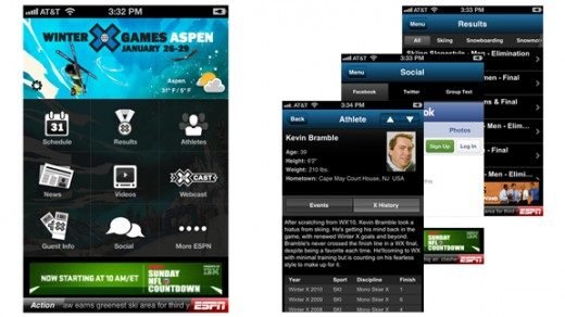 as appscreens 576 520x292 GroupMe is built right into the new Winter X Games 2012 mobile app