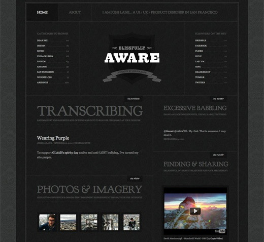 blissfullyaware1 16 Beautiful examples of texture in web design