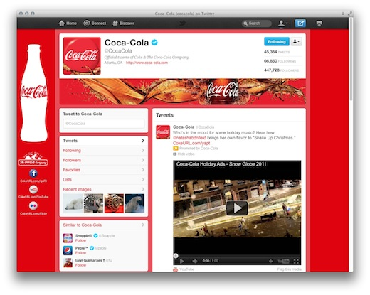 cocacola Twitter brand pages only have one chance to make an impression. Here are some tips.