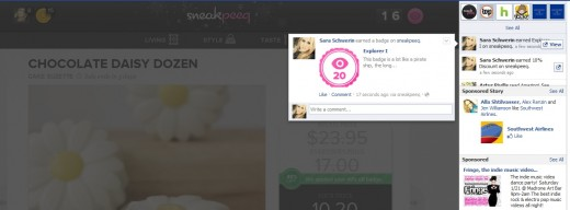 earnbadgescreenshot 520x192 Facebook Open Graph partner sneakpeeq gets its own action, peeq