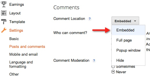 embedded Blogger finally gets threaded comments. Heres how to enable them.