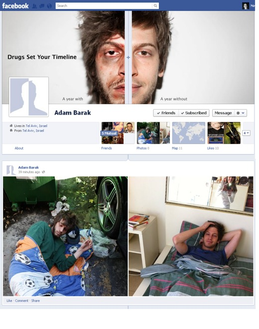 fb drugstimeline Facebook Timeline cleverly used to promote an anti drugs message