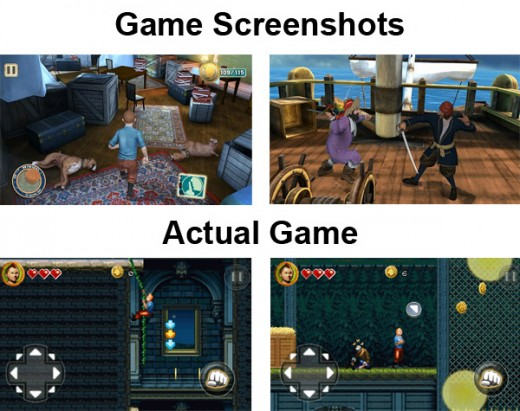 gameloft 2d tintin fake 520x411 Gameloft accused of baiting and switching Android users with HD Tintin game