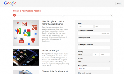 googleplus1 520x310 New Google account users are now forced to sign up to Gmail and Google+