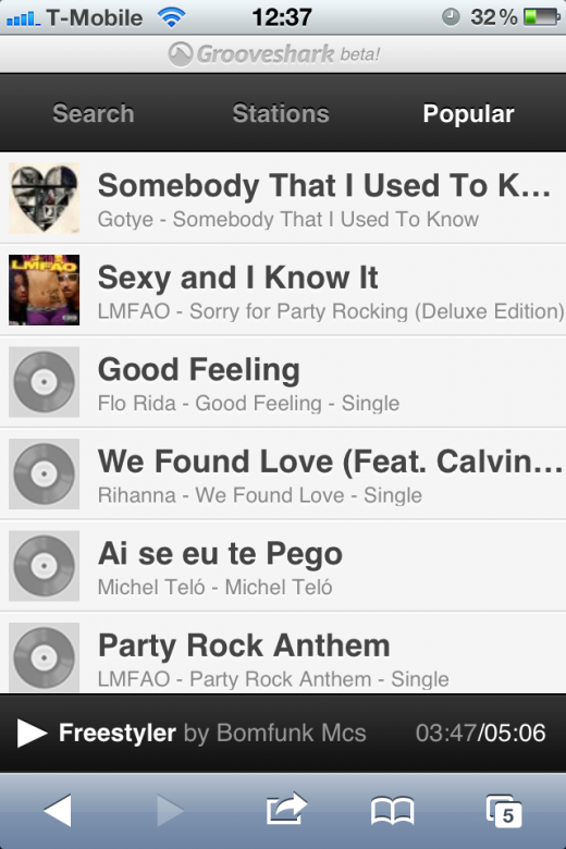 photo 2 520x780 Grooveshark returns to the iPhone (and other devices) with new HTML5 mobile app