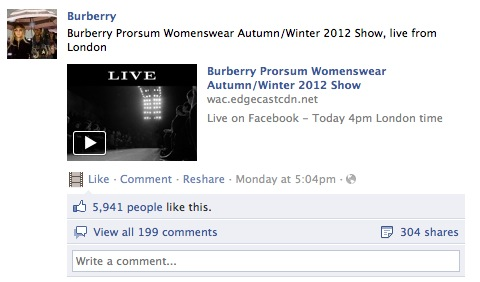 Burberry FB Fashion and technology: what to expect in 2012
