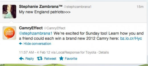 CamryEffect camryeffect on Twitter 1 520x233 Toyota takes to spamming Twitter for Camry Super Bowl promotion