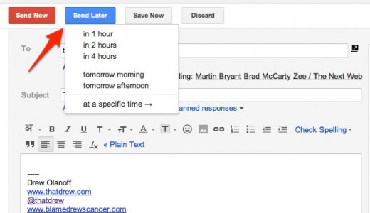 Compose Mail drdrew@gmail.com Gmail 1 520x300 Schedule your email delivery with this handy Gmail add on